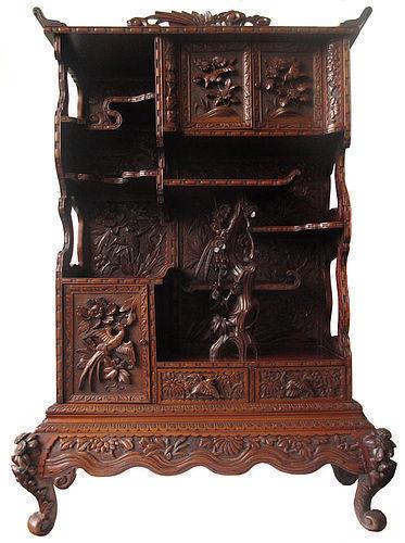 Antique Japanese Ornately Carved Cha Tansu