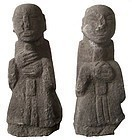 Antique Korean Pair of Stone Guardian Statues