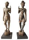 Antique Pair of Thai Male Attendant Statues