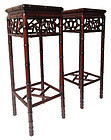 Antique Chinese Pair of Hardwood Bamboo Style Stands