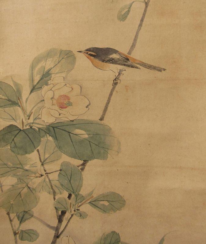 Antique Japanese Bird Scroll Painting