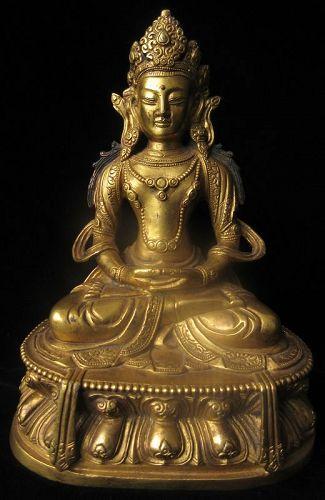 Sino - Tibetan Gilt Bronze Buddha