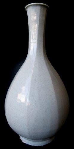 Antique Korean Faceted Crackle Porcelain Bottle