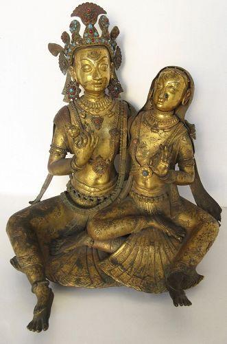 18th Century Newari Nepalese Gilt Bronze of Krishna and Radha