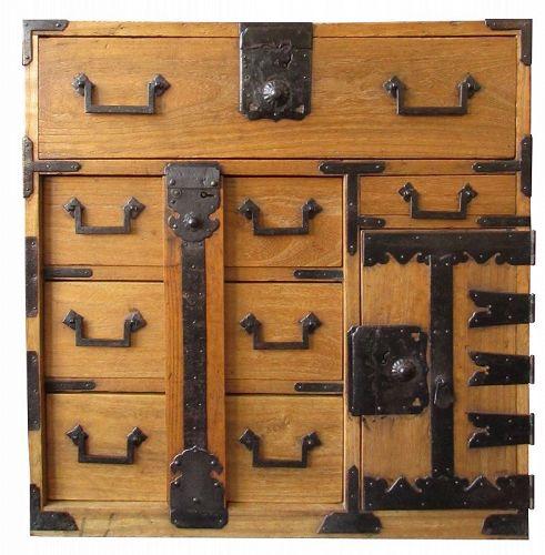 Antique Japanese Small Lock Bar Tansu