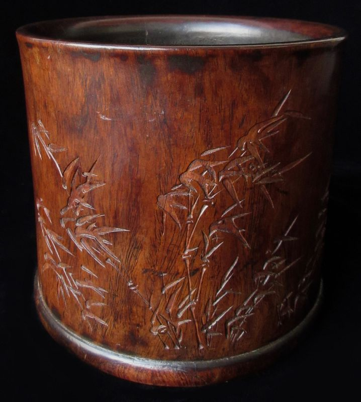 Antique Chinese Huanghuali Brush Pot with Bamboo Forest
