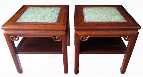 Unusual Pair of Chinese Square Hardwood Tables with Porcelain Panels