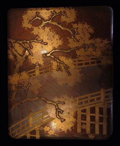 Japanese Ryoshibako and Suzuribako Writing Box Set of Uji Bridge