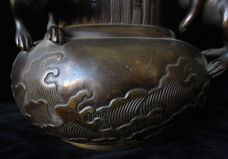 Japanese Bronze Vase with Rabbits and Waves