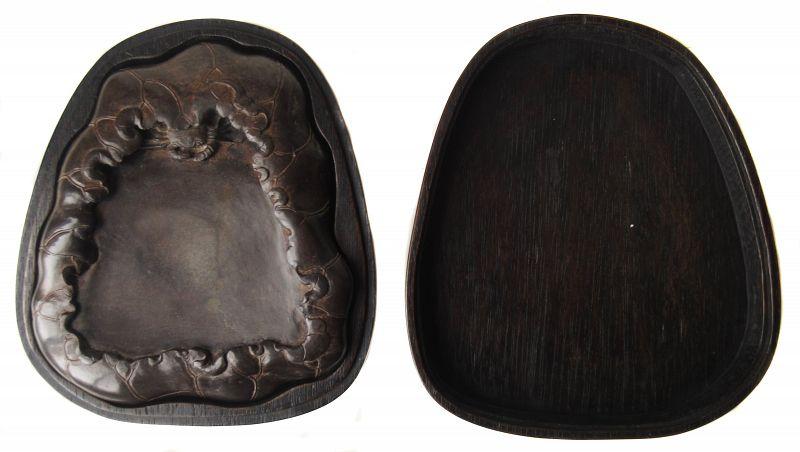 Antique Chinese Ink Stone and Hardwood Box
