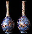 Antique Japanese Pair of Imari Phoenix Vases