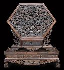 Chinese Antique Zitan Wood Carving of Dragons