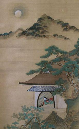 Set of 3 Japanese Scroll Paintings, signed Sumiyoshi Hirosada