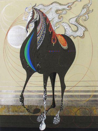 "Large Nakayama Tadashi Woodblock Print of Horse, Titled, ""Cyclone"""