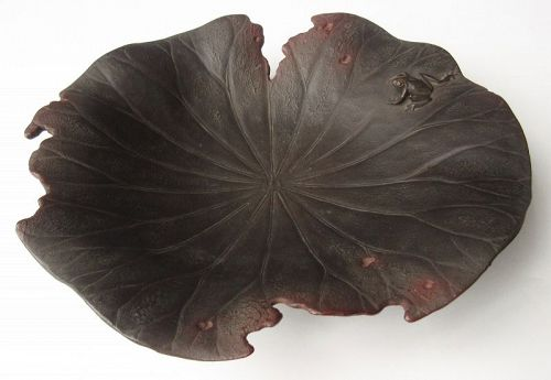 Japanese Dry Lacquer Lotus Leaf Bowl with Frog