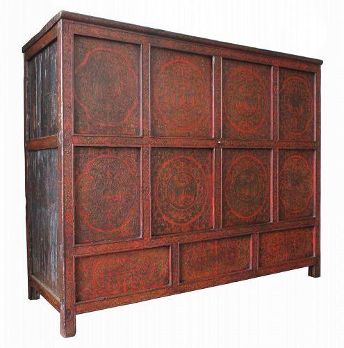 Tibetan Antique Cabinet with Phoenixes