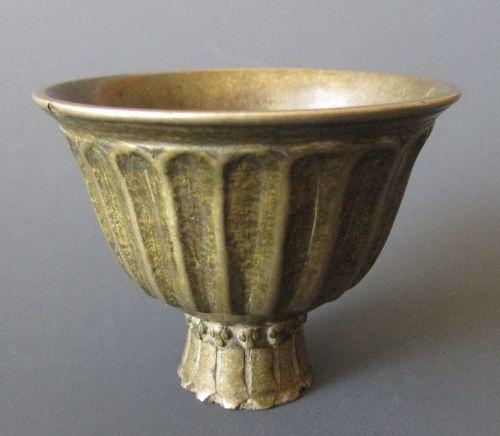 Tibetan 17th Century Bronze Offering Cup