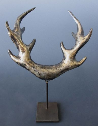 Japanese Antler Shaped Meadate from a Samurai Kabuto (Helmet)