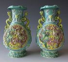 Pair of Chinese Antique Porcelain Vases with Dragons