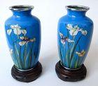 Antique Japanese Pair of Small Cloisonné Vases