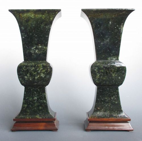 Pair of Chinese Antique Spinach Green Jade Gu-form Vases