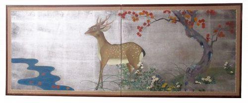 Japanese 2 Panel Byobu Silver Screen of Deer