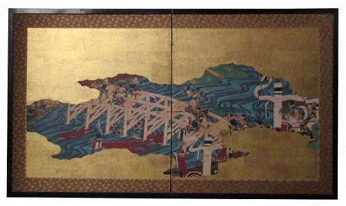 Antique Japanese 2 Panel Byobu Samurai Screen
