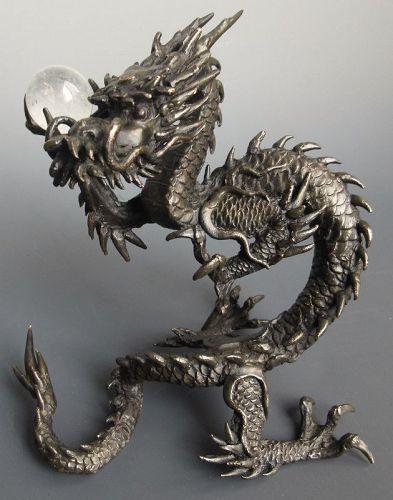 Stunning Japanese Bronze Dragon with Crystal Ball