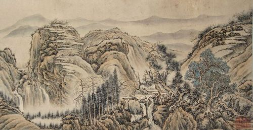 Antique Chinese Landscape Hand Scroll signed Yi Long