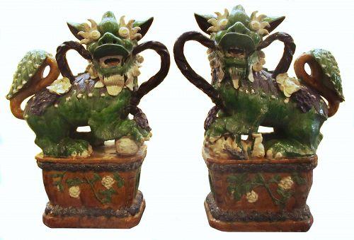 Large Chinese Pair of Ceramic Sancai Fu Dogs