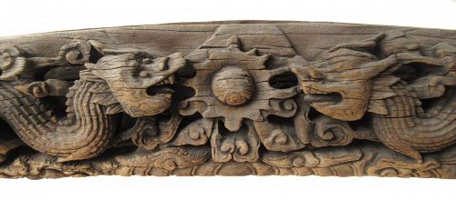 Massive Antique Chinese Architectural Wood Carving of Dragons