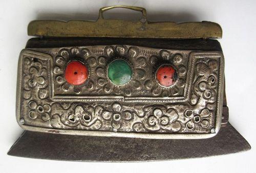 Antique Tibetan Mechag Flint Pouch