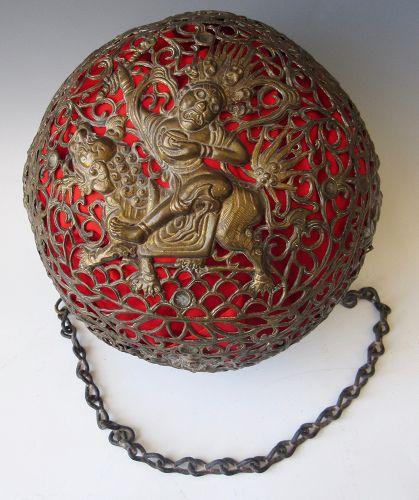 Antique Tibetan Repousse Copper Hanging Censer