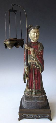 Chinese Carving of a Candle Holder Attendant