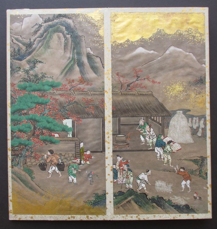 Rare Japanese Antique 12 Panel Painting Album
