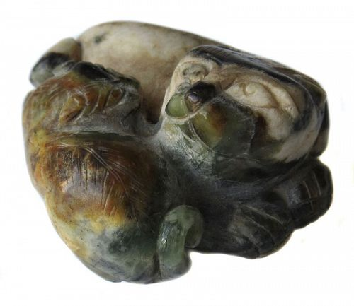 Antique Chinese Agate Carving of Tiger and Cub