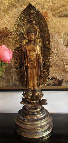 17th Century Japanese Standing Amida Buddha Statue