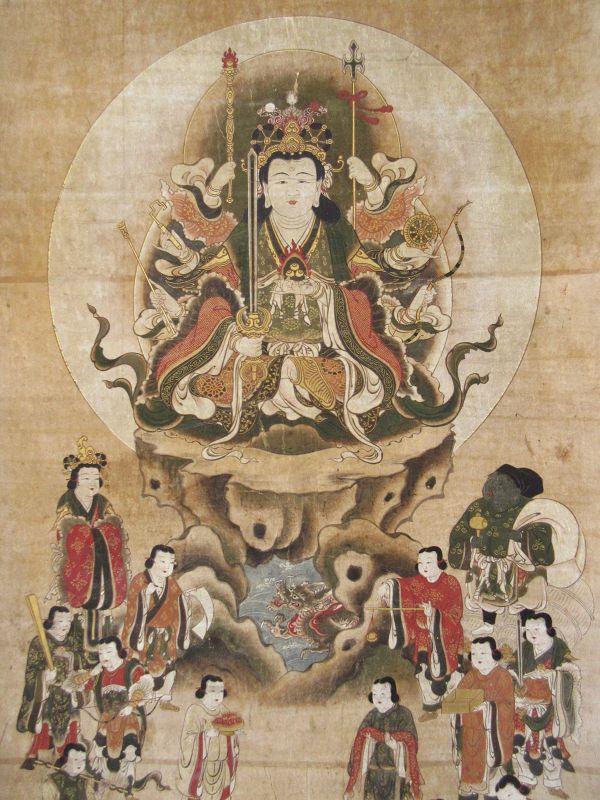 Japanese Edo Buddhist Scroll Painting of Eight Armed Kannon