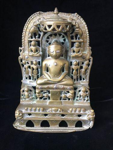 17th Century Silver Inlaid Brass Jain Shrine