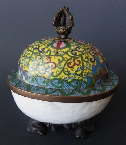 Antique Sino-Tibetan Cloisonne Kapala Skull Cup
