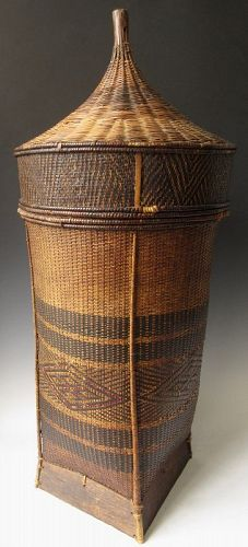 Antique Hand-Woven Southeast Asian Tribal Basket
