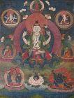 Tibetan Buddhist 4 Arm Avalokitesvara Thangka