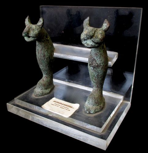 Antique Pair of Egyptian Bronze Cats