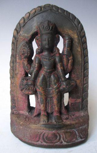 Antique Nepalese Stone Carved Figure of Vishnu