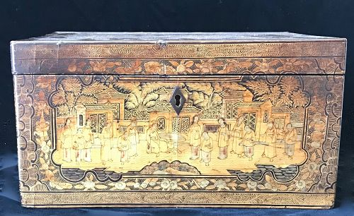 18th Century Antique Chinese Lacquered Tea Box
