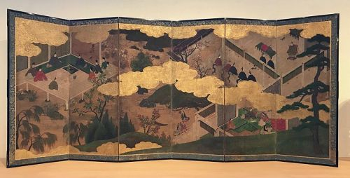 Antique Japanese Screen Painting Tale of Genji