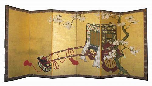 18th Century Japanese 6-panel Gosho-Guruma Carriage Screen