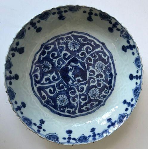 Antique Edo period Japanese Ko-sometsuke Tea Ceremony Plate