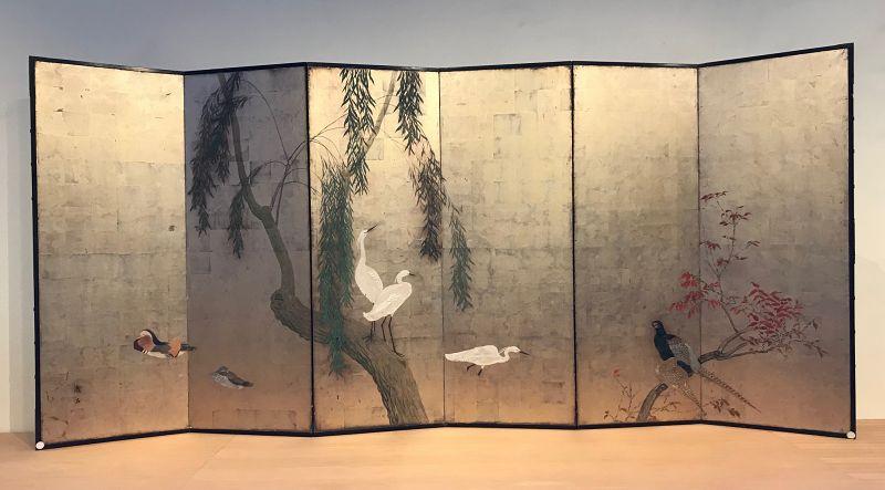 Antique Japanese Screen - Ducks, Egrets and Pheasants