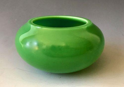 Antique Emerald Green Chinese Peking Glass Brush Bowl